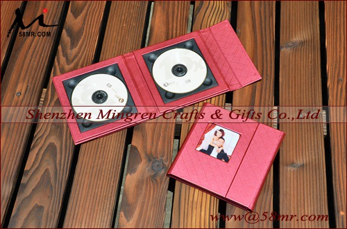 Elegant Burgundy Leather CD DVD Disc Box Album Holder,1Pic,2Disc
