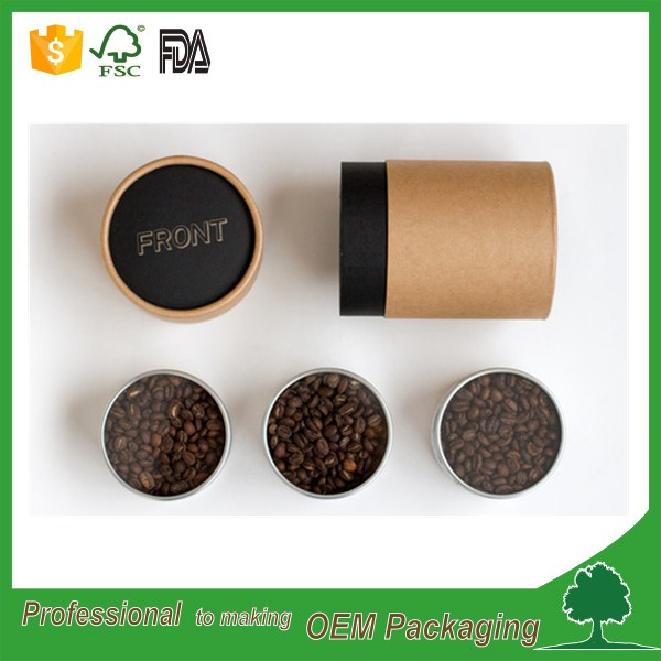 wholesale manufacturer food grade paper kraft canister for coffee bean recycled brown kraft paper tube/ round shape box OEM