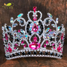 Pageant Customized Pink Crystal Crown Hair Tiaras and Crowns