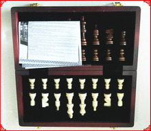 Custom classic wooden chess and checkers game in wooden box with wooden chess board