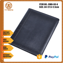 BWA-60-A pu leather A4 portfolio case meeting folder with zipper closure/notepad holder/mobile phone holder
