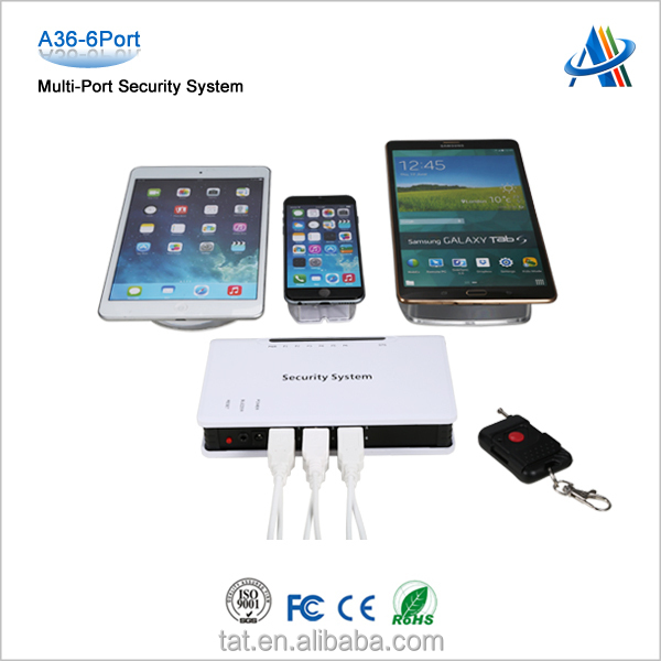 Retail loss prevention,multi-port display security controller for cell phone A36-6port