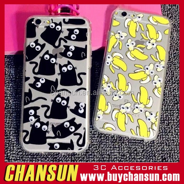 female cute eyes tpu cover case for iphone 6 plus