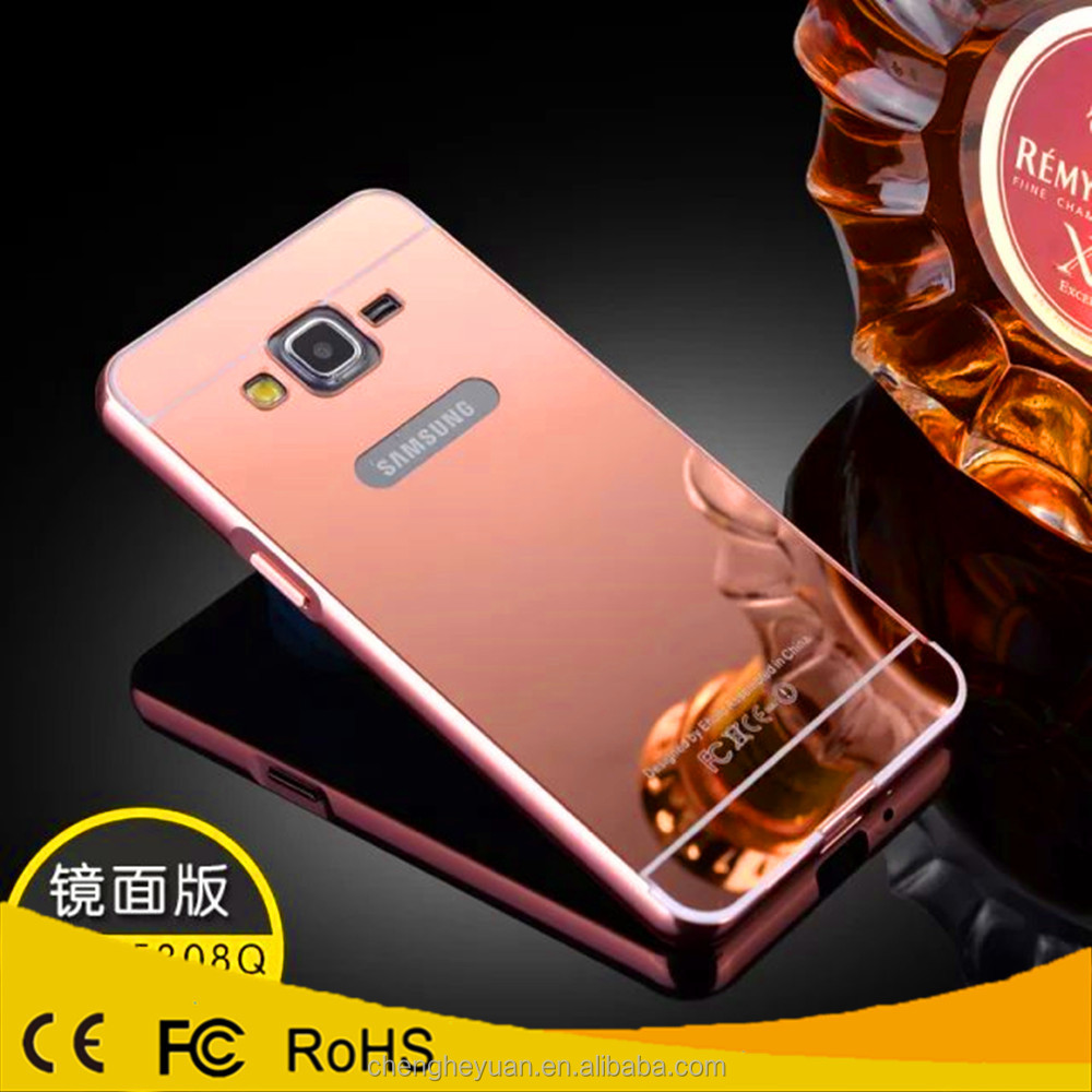 luxury aluminum metal bumper mirror case back cover for samsung galaxy grand prime g530h