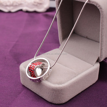 Stainless Steel Heart Pendant <strong>Necklace</strong> Fashion Round Lovers Couple <strong>Necklace</strong> with diamond