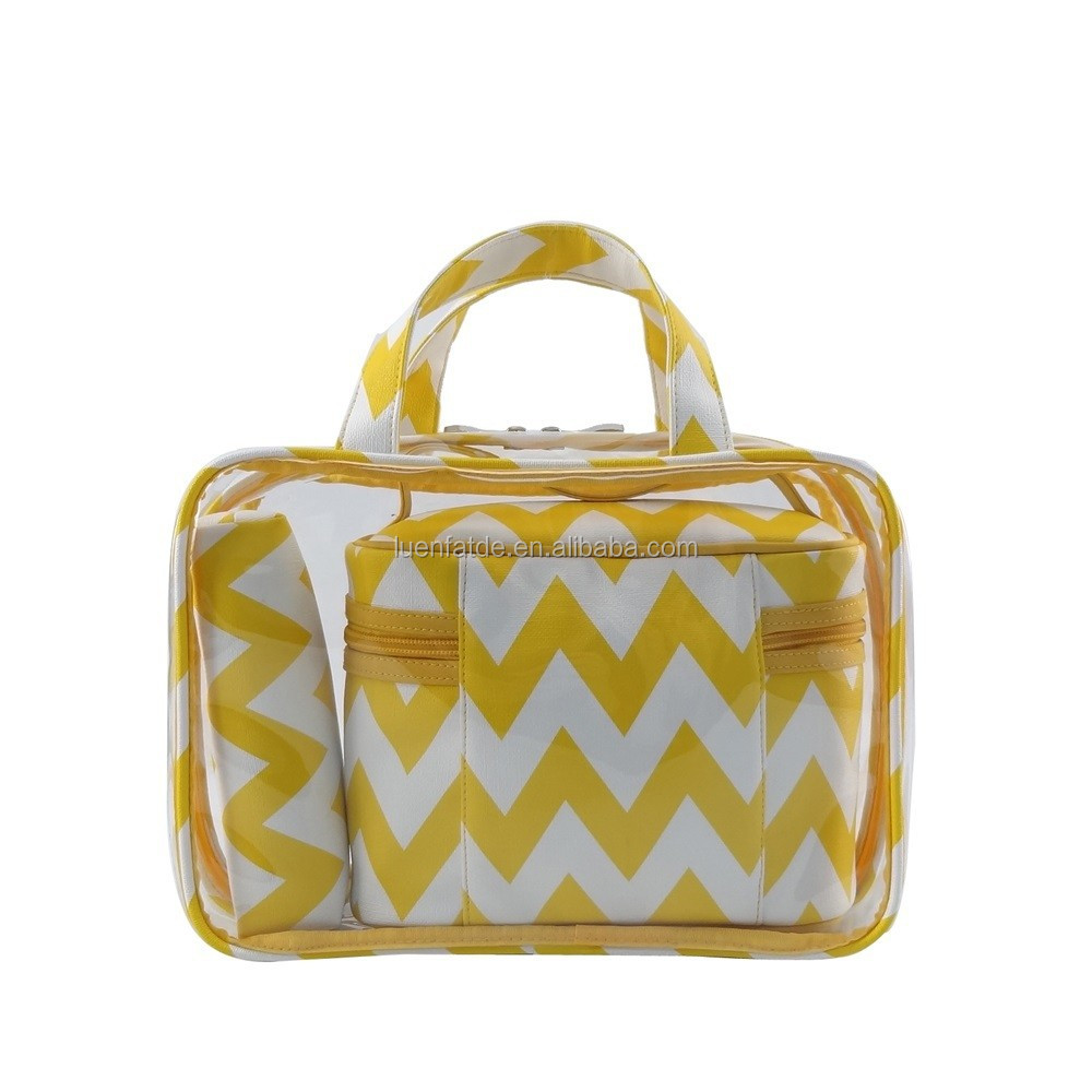 Large chevron travel vanity case, clutch bag, makeup bag