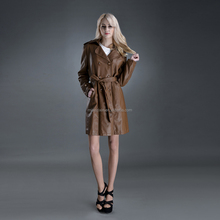 Ladies cheap long slim fit fashion PU leather women coats
