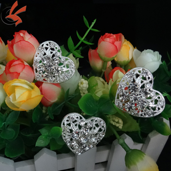 heart Crystal rhinestone bride Floral Bouquet brooch Jewelry wire Picks