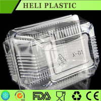 rectangle disposable PET PP folding plastic cookie/cake/dessert container/box/tray