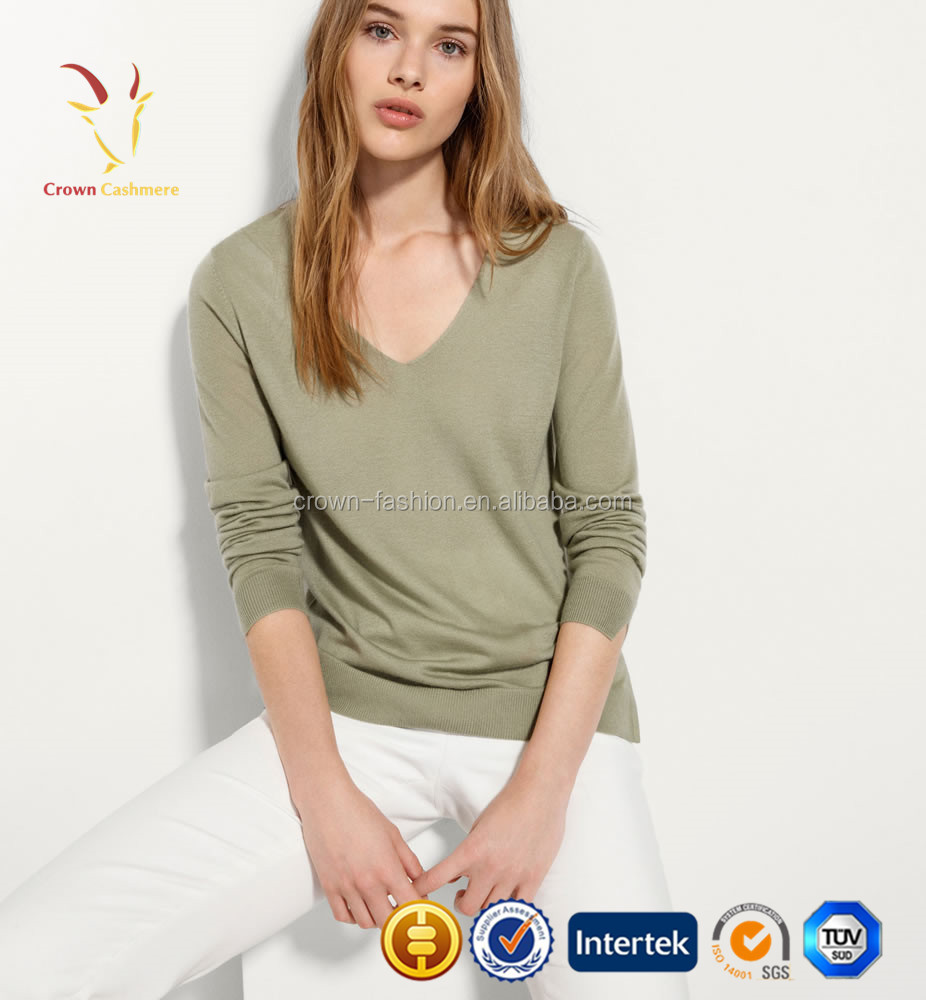 Mongolian Cashmere Knit Side Slit Sweater for Young Girls