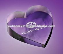 Noble New Logo Engraved Optic Crystal Heart Paperweight