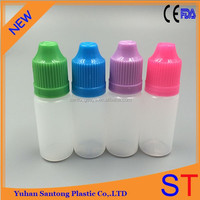 15ML LDPE Long thin tip colored cap plastic e-cig liquid bottle with screw cap