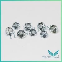 Wholesale high quality clean natural stone diamond cut round aquamarine gemstone