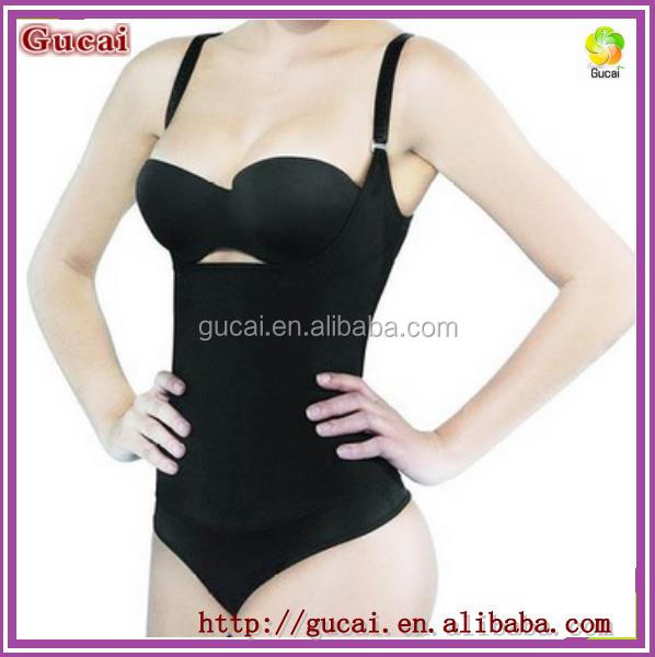 Gucai Hot Sexy Body Shaper Black Seamless Firm Control Shapewear Open bust Bodysuit