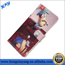Despicable Me Minions wallet leather Case with stand for iPhone 6