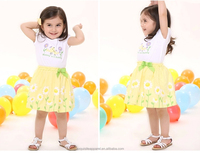 2015 high quality girls branded kids clothing factory in China / india clothing factory girls summer flower dress