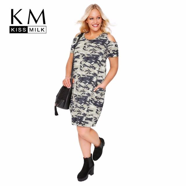 Kissmilk Plus Size Dress Women Camouflage Cold Shoulder Dress Short Sleeve Big Size Dress For Wholesale