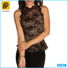 Fashion sleeveless high neck lace blouse/Sexy women lace top 2014