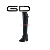 GD elegant over the knee style black pure leather brand long boots with buckle