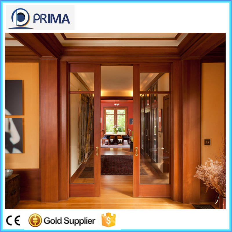 Exterior wood double leaf flush door with glass grill