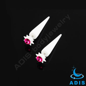 white acrylic stretchers ear fake pierced with rose gem
