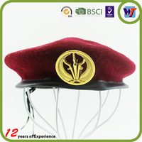 Wool felt beret hat wool military beret caps, cheap beret cap