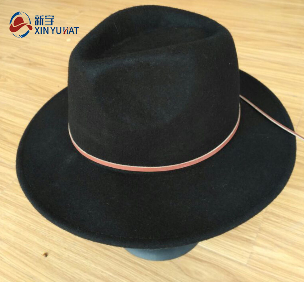 wholesale wide brim black wool felt fedora hats for women