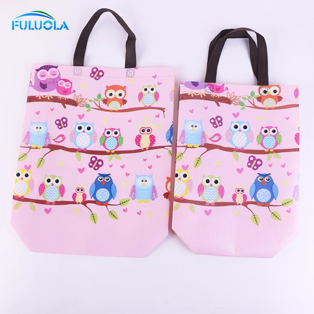 Owl design decorating laminated pp woven shopping bag