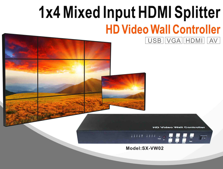 1X4 Converter Splitter and video wall controller, VGA or AV or USB or HDMI Mixed input