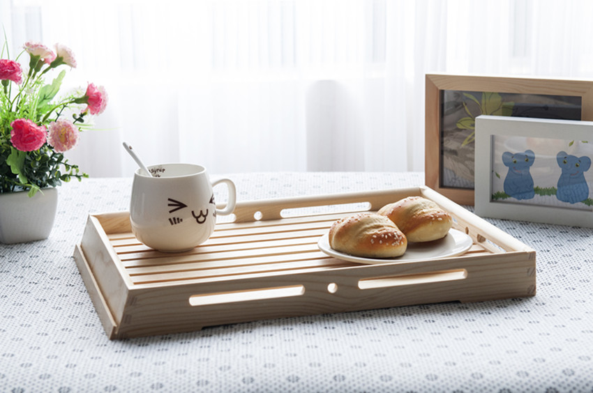 Fast food decorate serving tray wood , storage sell designer wooden tray