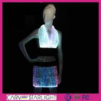 Fashion rainbow color changed LED women naked beach wrap skirt set