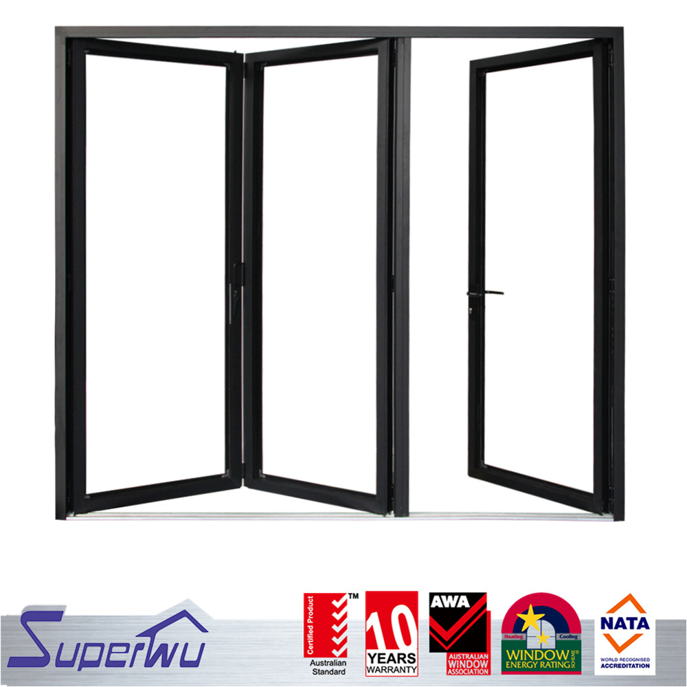 China Alibaba AS2047 Aluminum Front Entry Bi Folding Door Design Price Glass