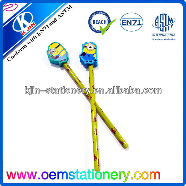 customized New wooden material cartoon despicable me design pencil with eraser