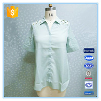 2016 Latest Fashion Ladies Blouse Shirt Collar And Front Open