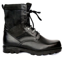 Black genuine leather hunting camping tactical hiking boots