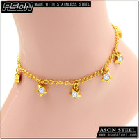 Traditional Indian gold plated stainless steel little star charm anklet, jewellery design of locking anklet