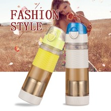 Leakproof drinking water bottle Heat-resistant Plastic water bottle with Stainless Steel infuser for promotion