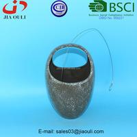 BSCI Audit Factory handle shape ceramic hanging basket planter, plant pot stand with hanger