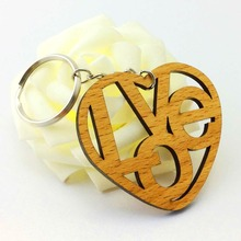 Custom art crafts wooden laser engraved key chain