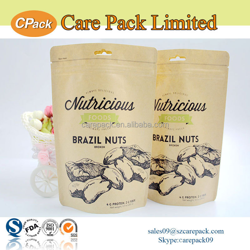 Newest resealable paper kraft packaging bag for nuts and coffee bean