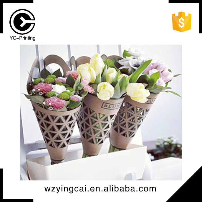 Custom decorative fresh flower retail box bouquet packaging carry paper bag