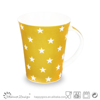Eco-friendly brilliant full decoration in different shape porcelain yellow star coffee mug