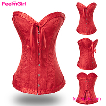 Cheap Price Hooks Overbust Red Embroider Cheap Waist Training Corsets