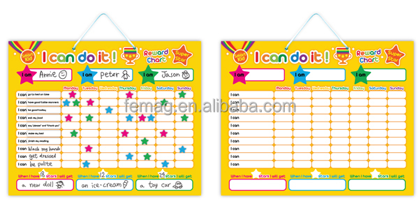 E1002 wholesales top quality magnetic learning behavior chart for baby and parent at home