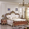 Luxurious Baroque Poster Canopy Brown Padded Leatherette Queen King Bed