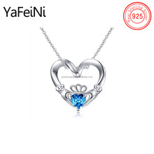 Hot sale 925 Sterling Silver Celtic Kelly Love Hands Holding Blue diamond Crown love Pendant Necklace for women gift