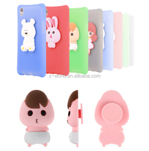 DIY 3D design cartoon animals shockproof silicone Skin mobile phone case cover with cable winder for iPhone 7