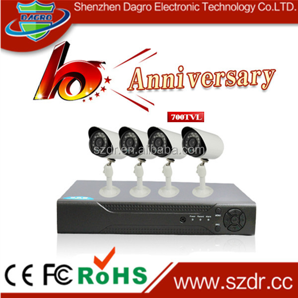 Cheapest CCTV Camera DVR KIT 4pcs 700TVL Outdoor Waterproof IP66 4CH CCTV DVR KIT Home Alarm Security Camera System