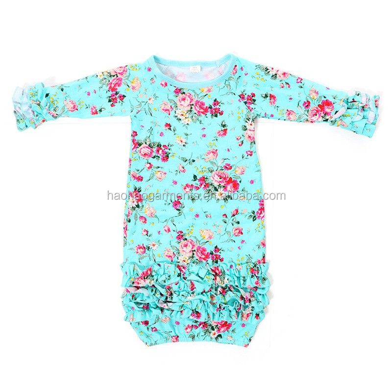 long sleeve ruffled spring summer baby sleep gowns infant baby knit cotton pajamas
