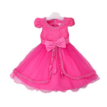 High-end bulk clothing latest girl dress hallow out laced design flower with beaded bowknot unique party dress L6380